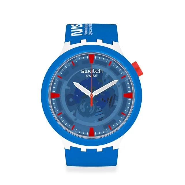 【SWATCH】NASA限定聯名款 BIG BOLD系列手錶JUMPSUIT 蔚藍宇宙(47mm)