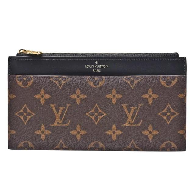 【Louis Vuitton 路易威登】M80348 SLIM系列經典Monogram帆布/牛皮印花拉鍊長夾(黑)