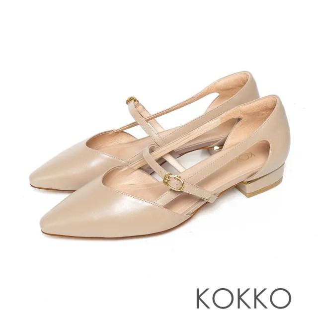【KOKKO 集團】尖頭柔軟羊皮挖空繫帶瑪莉珍粗跟鞋(駝灰色)