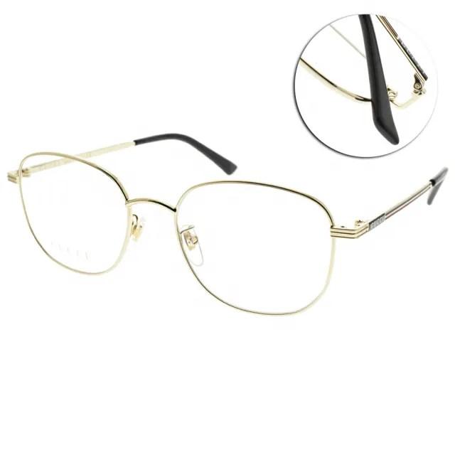【GUCCI 古馳】光學眼鏡 時尚圓框款(金-黑#GG0838OK 003)