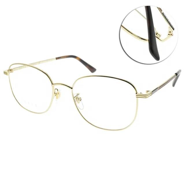 【GUCCI 古馳】光學眼鏡 時尚圓框款(金-琥珀棕#GG0838OK 002)