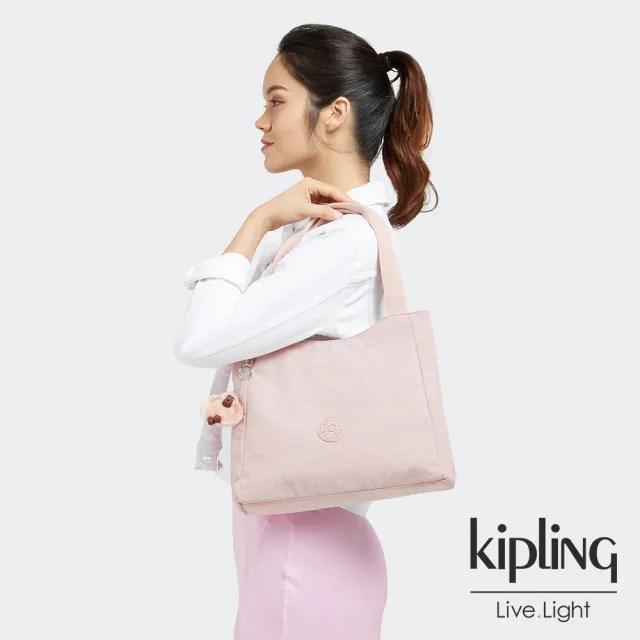 【KIPLING】甜美粉嫩色典雅手提托特包-HALSTEIN