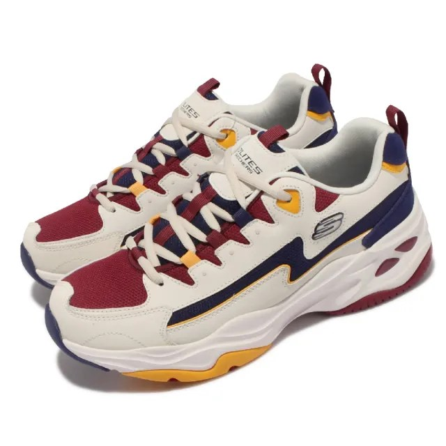 【SKECHERS】休閒鞋 D Lites 4.0 老爹鞋 男鞋 老爹鞋 修飾腿部線條 防滑 穩定 耐磨 米 紅(237140-NTBG)
