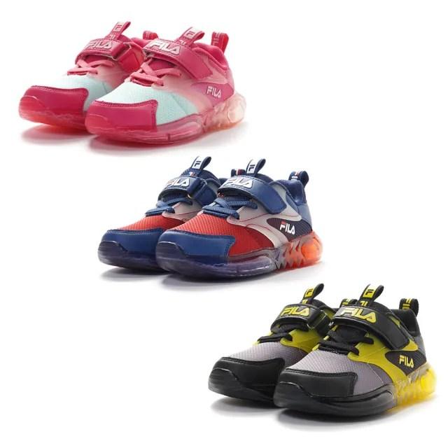【FILA】KIDS 炫光電燈鞋 童鞋 運動鞋 康特杯(7-J852V-066/7-J852V-123/7-J852V-555 三色任選)