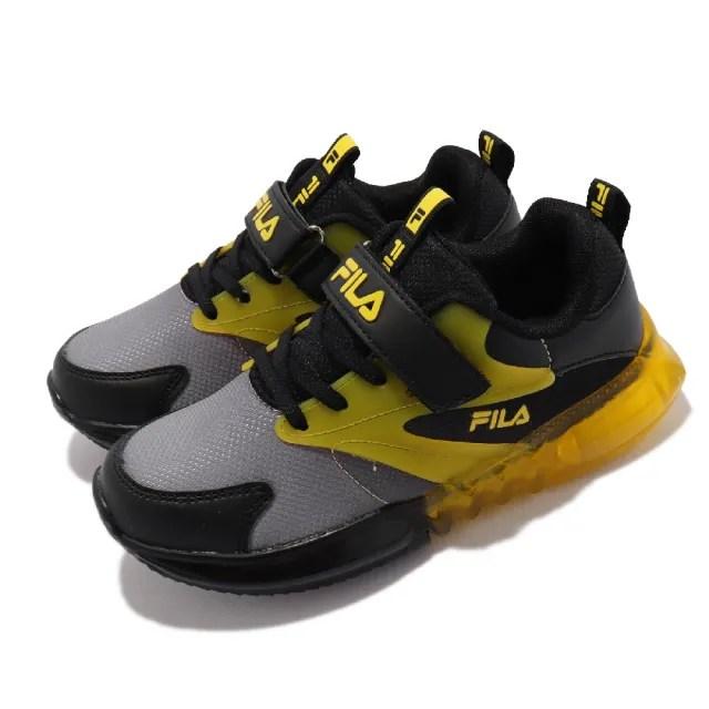 【FILA】休閒鞋 852V 發光 燈鞋 童鞋 斐樂 魔鬼氈 透氣網布 球鞋 中童 黑 黃(7J852V066)