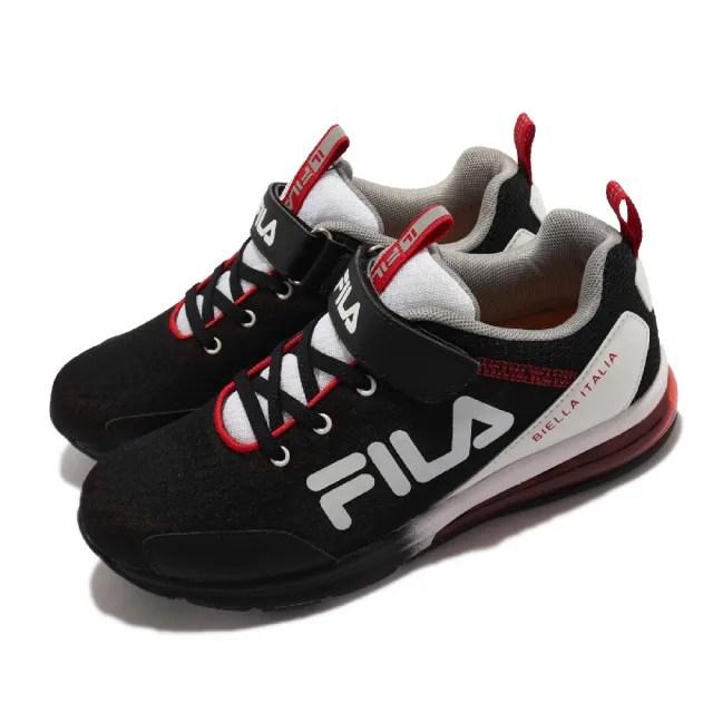 【FILA】休閒鞋 J803V 運動 魔鬼氈 童鞋 女鞋 斐樂 基本款 外出 氣墊 穩定 中大童 黑 白(3J803V012)