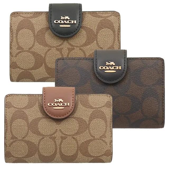 【COACH】PVC滿版LOGO寬版釦式零錢袋中夾(3色)