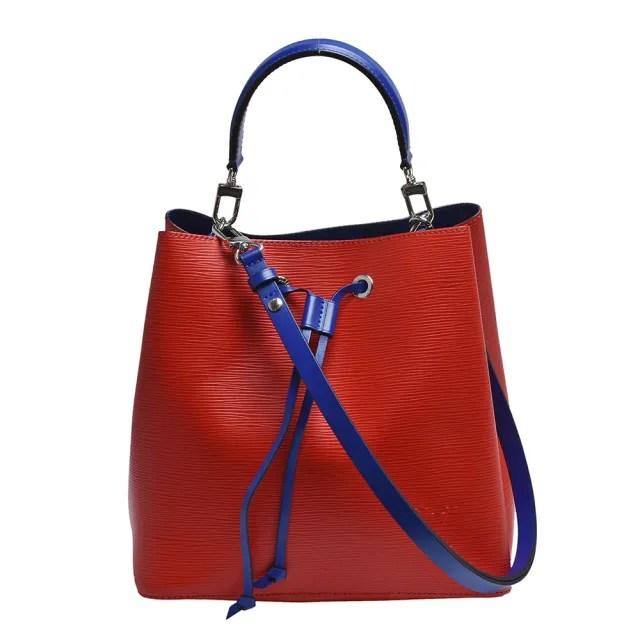 【Louis Vuitton 路易威登】M54365經典Neonoe系列EPI皮革撞色束口斜背/肩背水桶包(罌粟紅色)