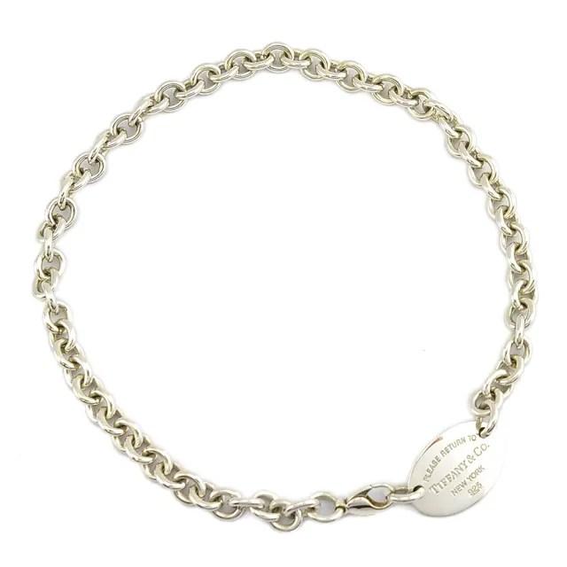 【Tiffany&Co. 蒂芙尼】RTT系列-925純銀刻字橢圓牌圈型項鍊