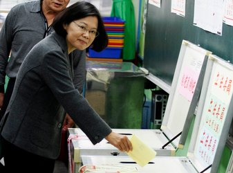Tsai Ing-wen, the Democratic Progressive Party candidate for president, cast her ballot in Taiwan's elections Saturday.