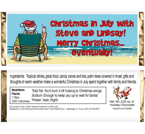 Christmas In July Theme Candy Bar Wrapper