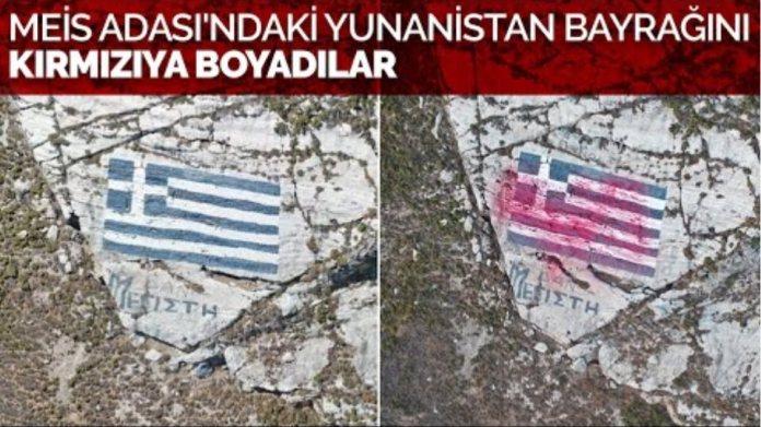 Meis Adası'ndaki Yunanistan bayrağını kırmızıya boyadılar