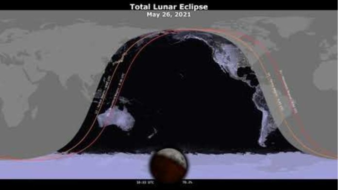 May 26, 2021 Total Lunar Eclipse: Visibility Map