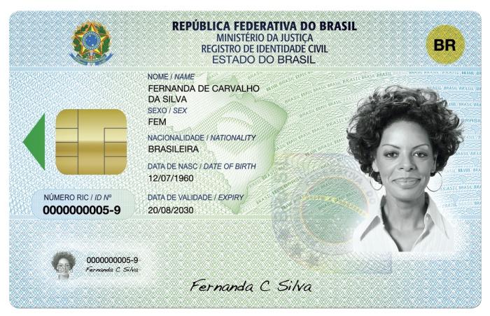 Novo RG ou Registro de Identidade Civil - frente HG