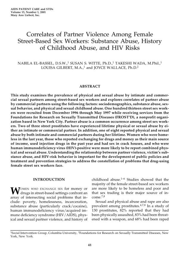 (PDF) Correlates of Partner Violence Among Female Street ...