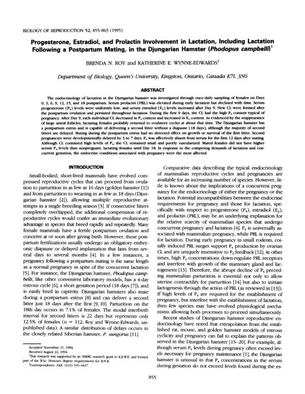(PDF) Progesterone, estradiol, and prolactin involvement ...