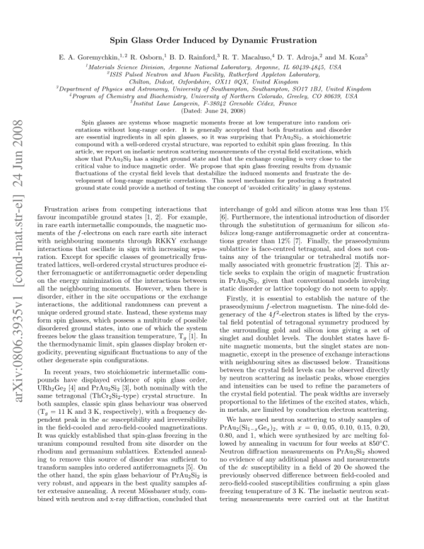 (PDF) Spin Glass Order Induced by Dynamic...