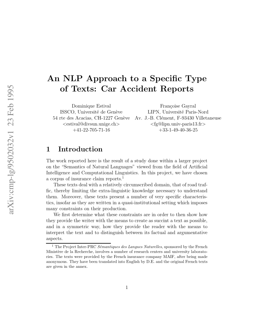 Pdf An Nlp Approach To A Specific Type Of Texts Car Accident Reports