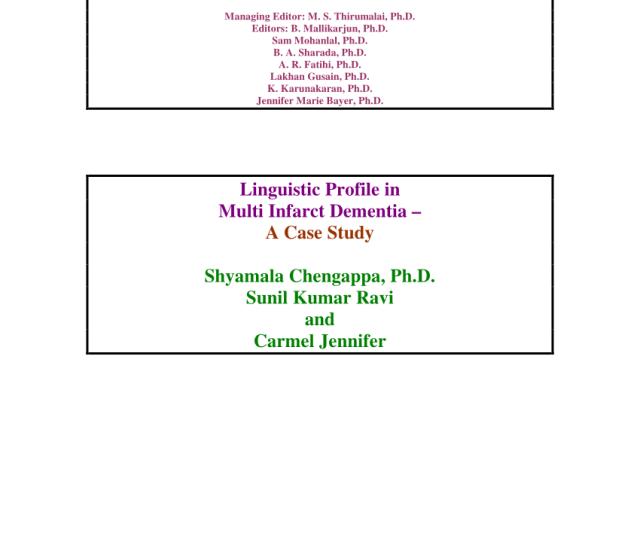 Pdf Linguistic Profile In Multi Infarct Dementia A Case Study