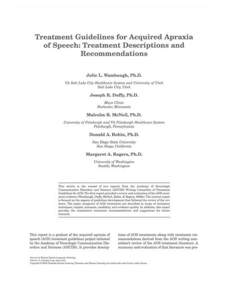 Treatment Guidelines For Acquired Apraxia Of Speech