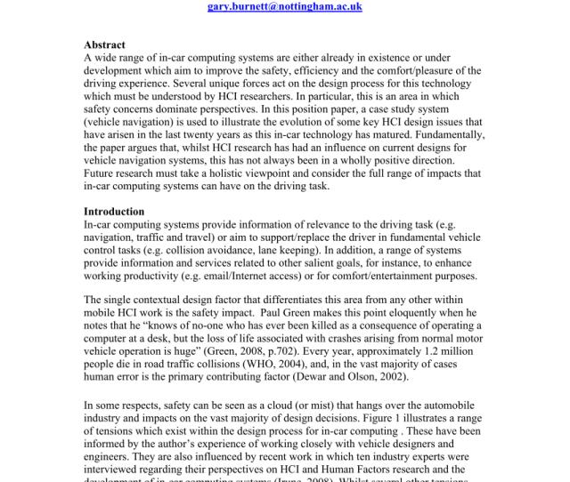Pdf Satnav Or Satnag A Case Study Analysis Of Evolving Hci Issues For In Car Computing