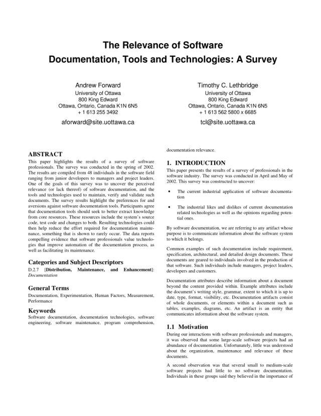 PDF) The relevance of software documentation, tools and technologies