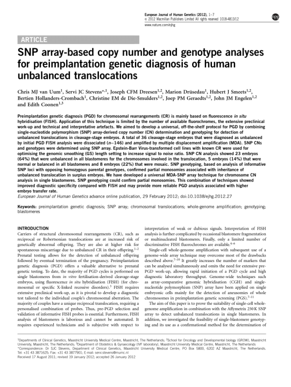(PDF) SNP array-based copy number and genotype analyses ...