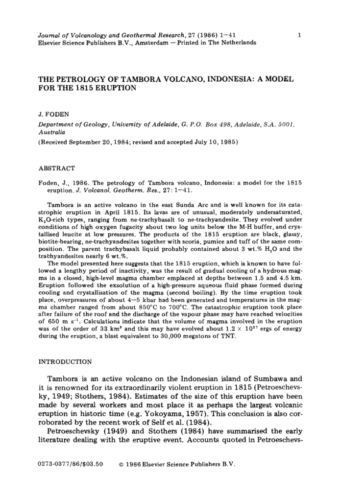 Pdf The Petrology Of Tambora Volcano Indonesia A Model For The 1815 Eruption