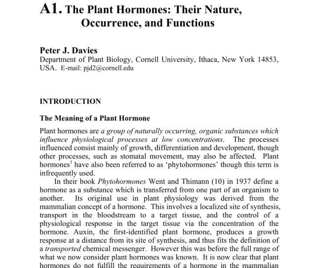 Pdf The Plant Hormones Their Nature Occurrence And Functions