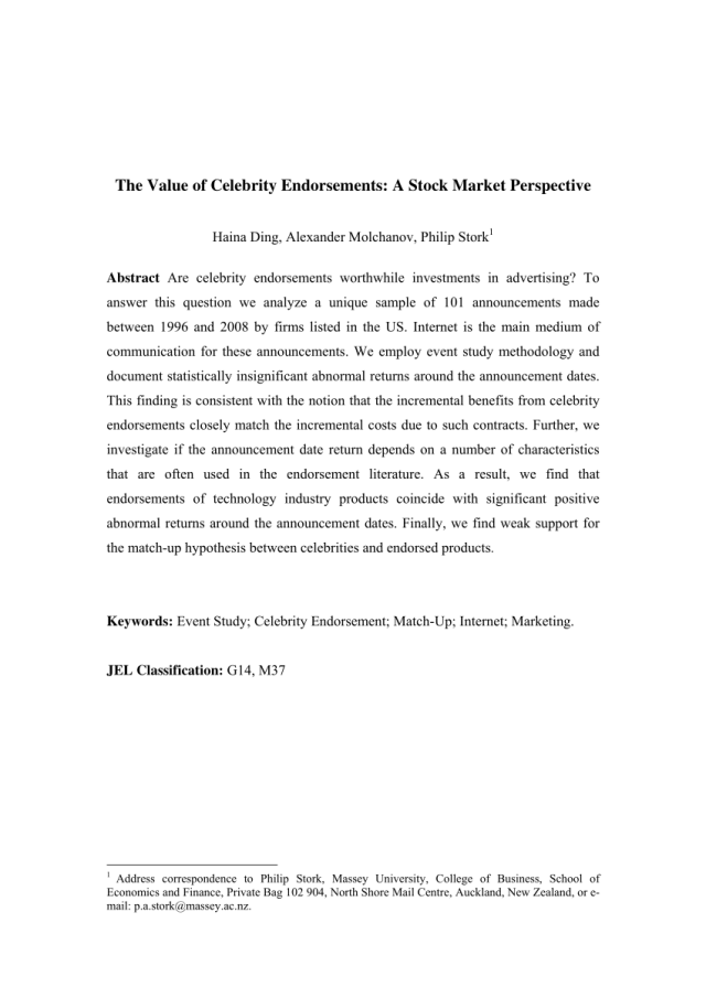 PDF) The value of celebrity endorsements: A stock market perspective