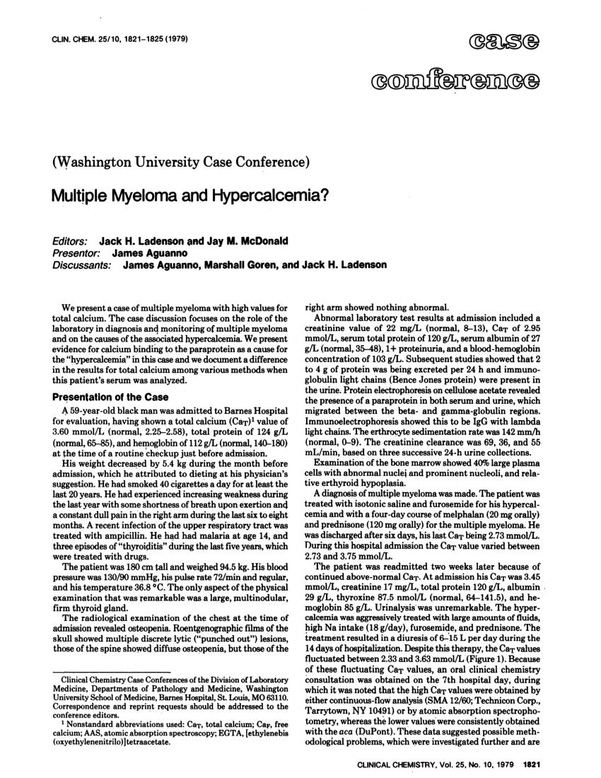 pdf washington university case conference multiple myeloma and hypercalcemia