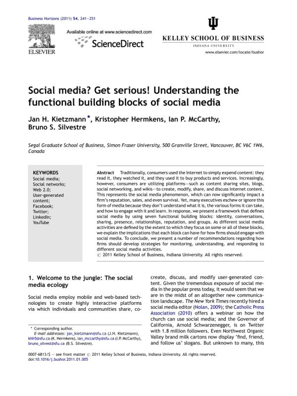 (PDF) Social Media? Get Serious! Understanding the ...