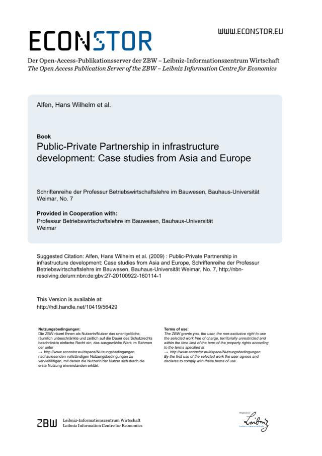 PDF) Public-Private Partnership in Infrastructure Development