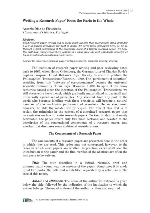 (PDF) Writing a Research Paper: From the Parts to the Whole