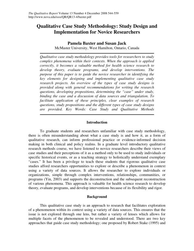 PDF) Qualitative Case Study Methodology: Study Design and