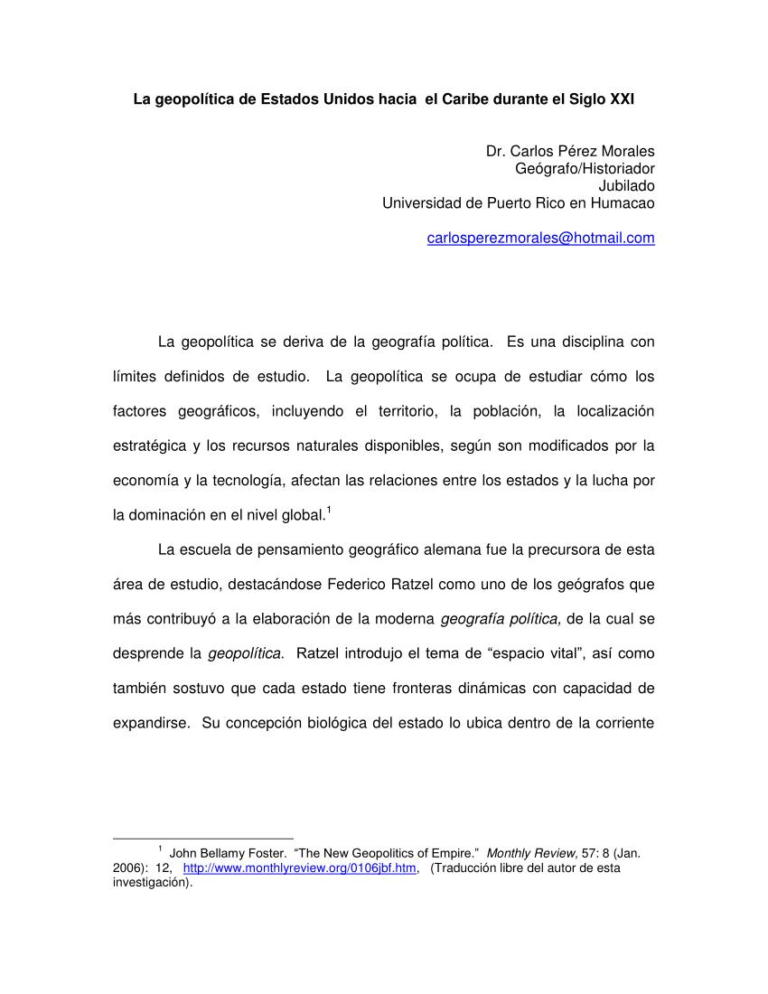 (PDF) Geopolitica de Estados Unidos hacia el Caribe durante el Siglo XXI: El caso Panama.