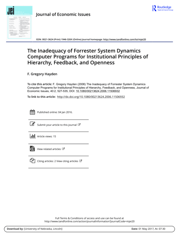 (PDF) The Inadequacy of Forrester System Dynamics Computer ...