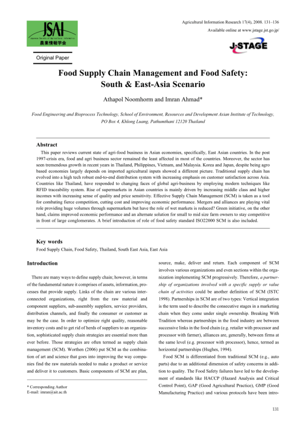 (PDF) Food Supply Chain Management and Food Safety: South ...