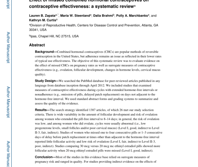 Pdf Effect Of Missed Combined Hormonal Contraceptives On Contraceptive Effectiveness A Systematic Review