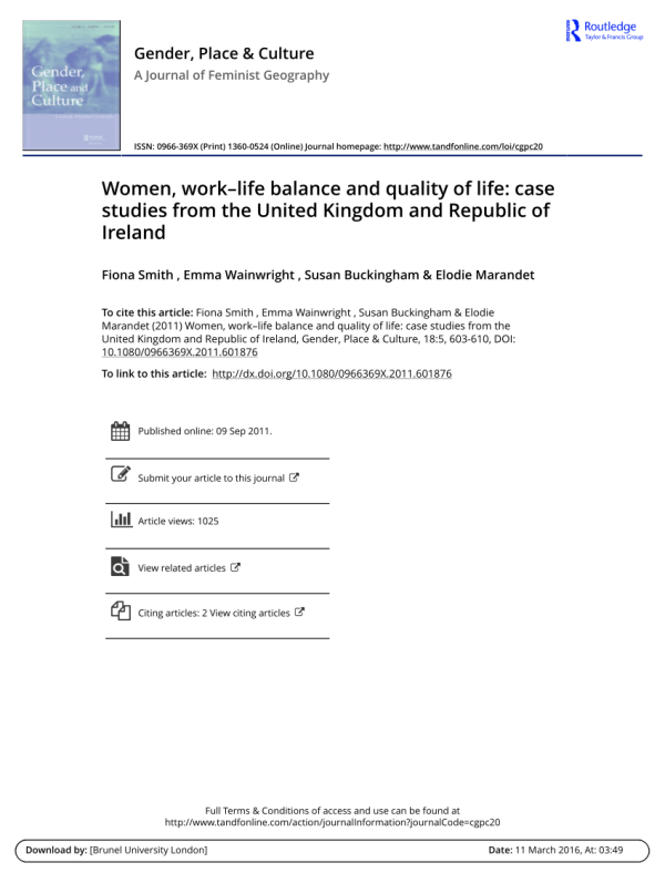 Women, work–life balance and quality of life: Case studies ...