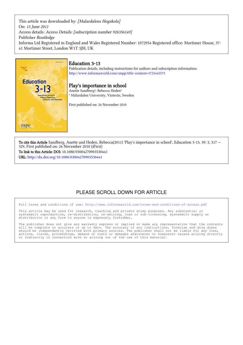 pdf play s importance in school