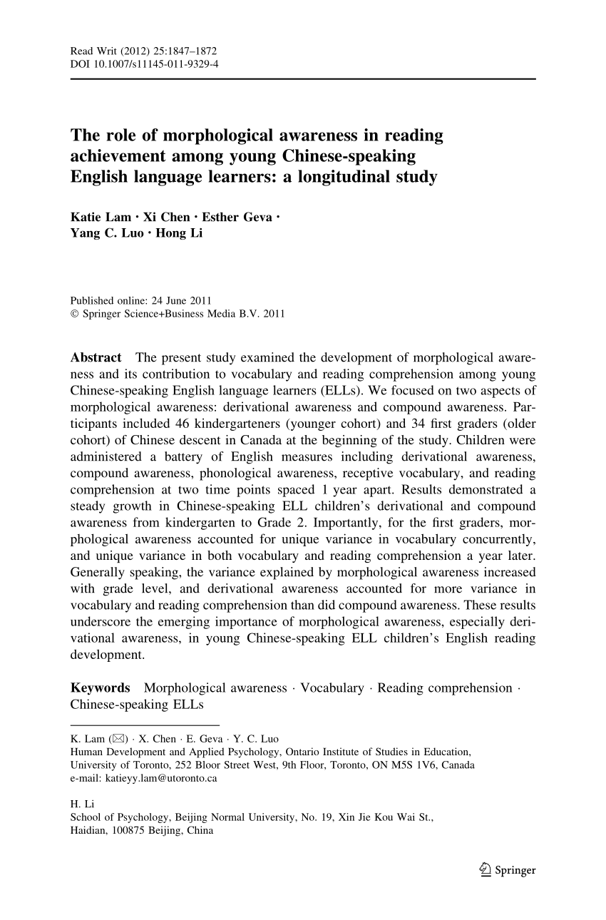 The Role Of Morphological Awareness In Reading