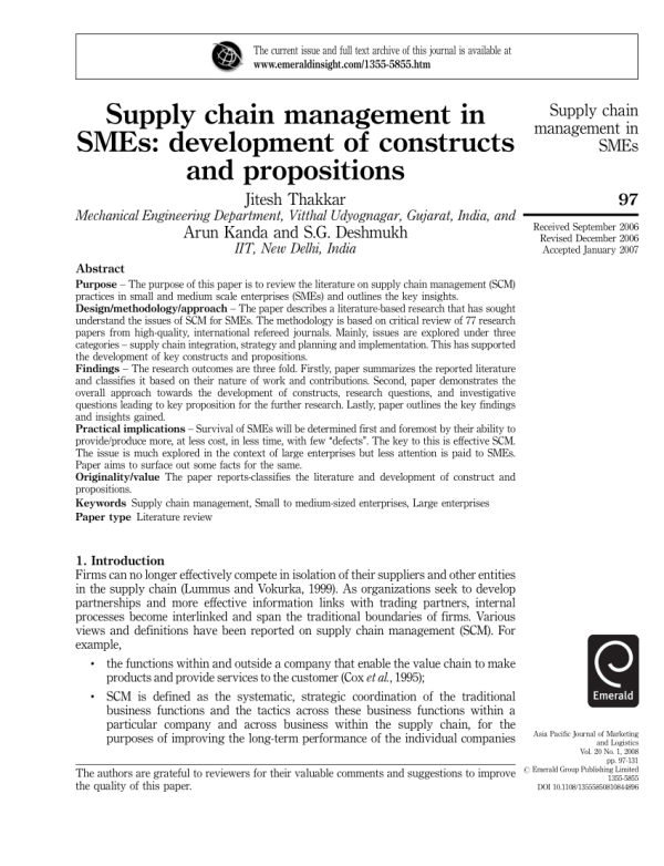 (PDF) Supply chain management in SMEs: Development of ...