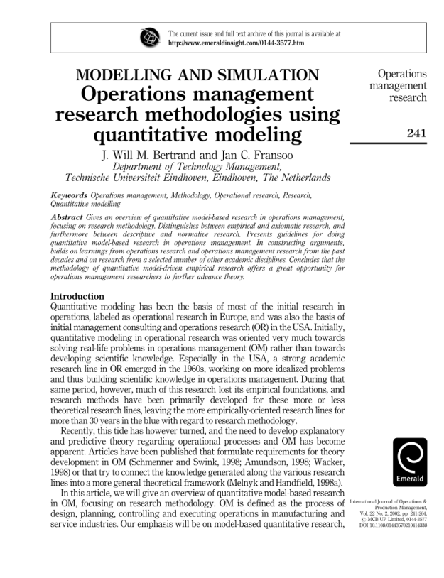 pdf) operations management research