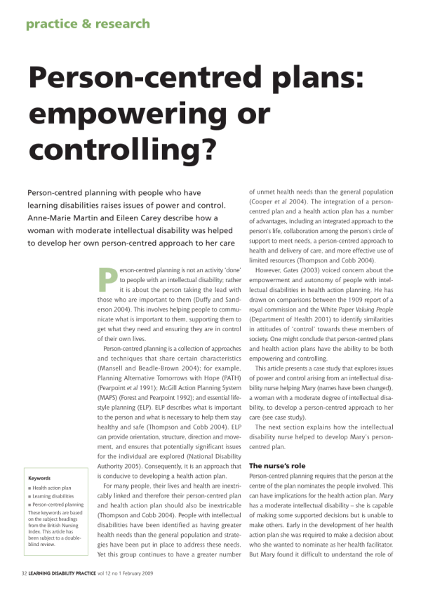 (PDF) Person Centred Plans: Empowering or Controlling?