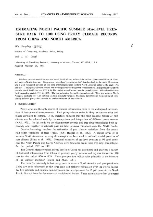 (PDF) Estimating North Pacific summer sea-level pressure ...