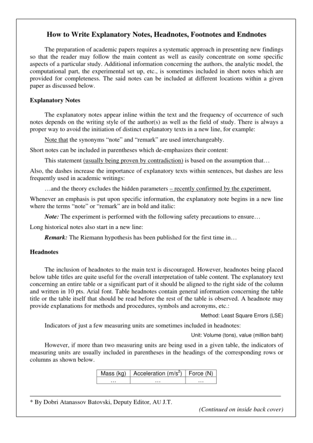 PDF) How to write explanatory notes, headnotes, footnotes and endnotes
