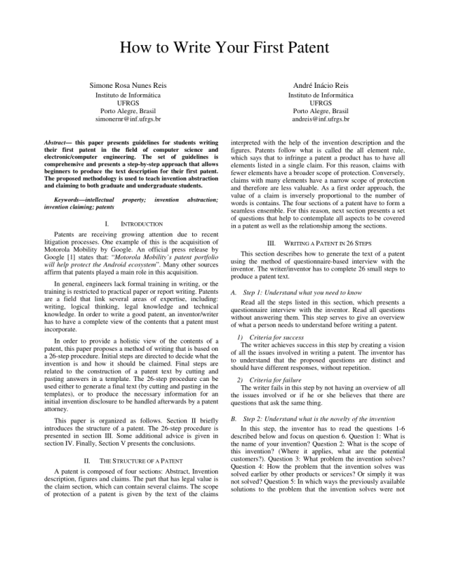 PDF) How to Write Your First Patent