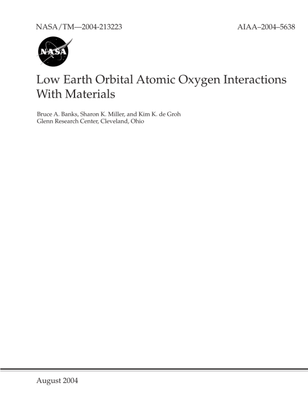 PDF Low Earth Orbital Atomic Oxygen Interactions With