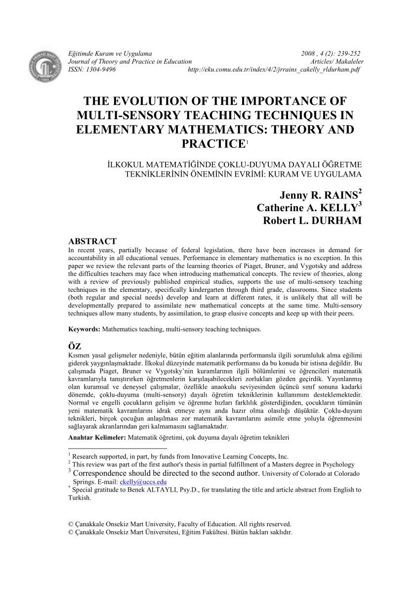 pdf the evolution of the importance of multisensory teaching techniques in elementary mathematics theory and